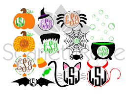 halloween monogram frame set spider witch black cat pumpkin