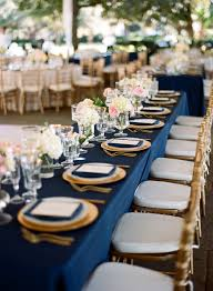 Table Scapes Elegant Navy And Gold Rectangular Reception Table Blue