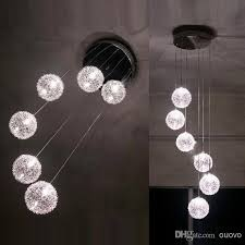 Glass Balls Chandelier Discount 6 Glass Aluminum Wire Balls Stair Case Pendant Light
