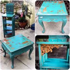 Vintage Living Room Side Tables Shabby Chic Table Set Seafoam Green W Distressed Bird