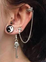 grunge earrings jewels earrings skull ring cross cross earring key yin yang