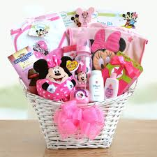 baby basket gift minnie mouse baby girl gift basket hayneedle