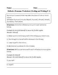 circling reflexive pronouns worksheet englishlinx com board
