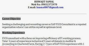 Sap Fico 2 Years Experience Resumes Sap Fico Professional Resume