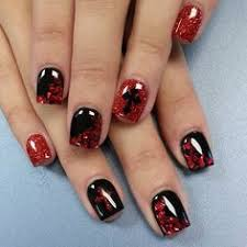 chickettes com red and black gothic nails using foils u0026 cross stud