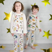 dinosaur colour in pyjamas with fabric pens by selfie clothing co