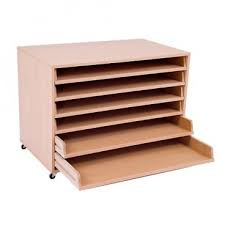 mobile paper storage unit including 6 pull out shelves