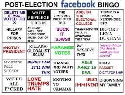 post election custom bingo cards your meme