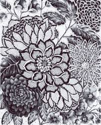 original ink drawing black lace black and white flowers hand