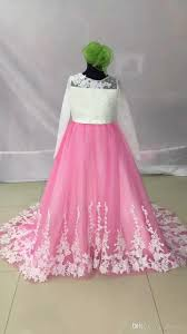 baby dress long sleeve floor length court train lace applique