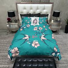 Japanese Bedding Sets Duvet Covers Indigo Quilt Cover Set Pink Cherry Blossom Bedding
