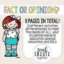 fact and opinion differentiated worksheets by teach create explore
