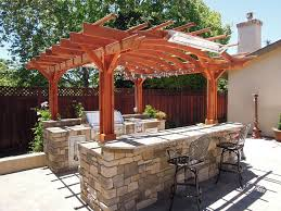 fabulous wooden pergola ideas with stone bar including outdoor