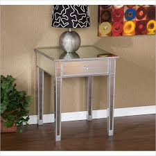 Mirrored Accent Table Holly U0026 Martin Montrose Painted Silver Wood Trim Mirrored Accent