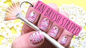 fan brush striped nail art tutorial youtube