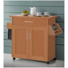 rolling kitchen island storage cart buffet server cabinet counter