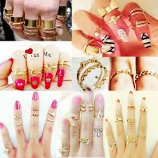 top knuckle rings images Set knuckle heart bowknot skull plain band nail midi finger ring jpg