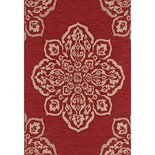 hampton bay medallion red 8 ft x 10 ft indoor outdoor area rug