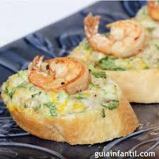 canape de de gambas con huevo y queso recetas de aperitivos