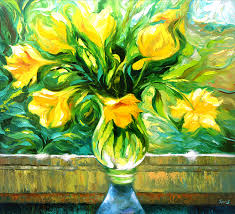 yellow flowers with yellow flowers 110cm x 100cm 2017 on canvas by dmitry
