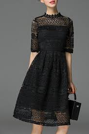 oserjep black knee length lace dress knee length dresses at dezzal