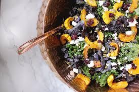 fall recipe kale salad with roasted delicata squash maple