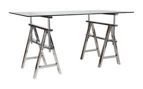 Height Adjustable Desk Legs by Desk Stainless Steel Trestle Legs Glass Top Adjustable Height 70