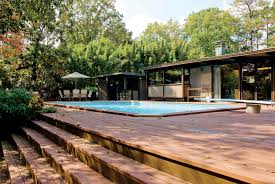 Mid Century Homes Ace Fake Wooden Exterior Floors Around Rectangle Pool Also