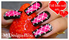 corset nail art pink and black nails tutorial дизайн
