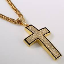 jesus cross gold necklace images Iced out hip hop lab simulated diamond gold cross pendant etsy jpg