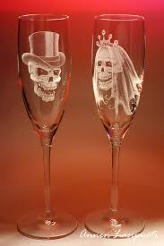 Awesome Wine Glasses Wedding Glasses With Skulls Handmade Engravings On Glass Made