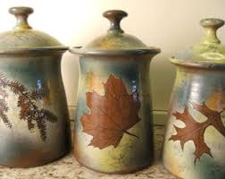 pottery canisters kitchen canister set etsy