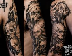 sleeve tattoos of skulls photos pictures and sketches