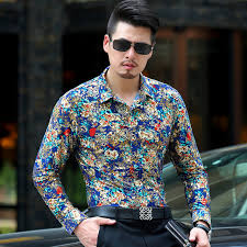aliexpress com buy baroque gold floral shirt men luxury design