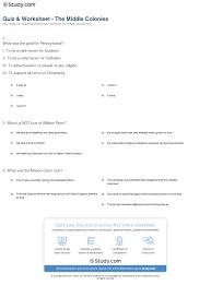quiz u0026 worksheet the middle colonies study com