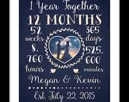 1st year wedding anniversary year together etsy