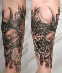 skeleton couple tattoos on upper arm