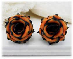 black roses orange black earrings or clip ons