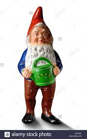 garden gnome with watering can stock photo royalty free image