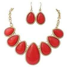red necklace statement images Red teardrop statement necklace drop earrings set rosemarie jpg