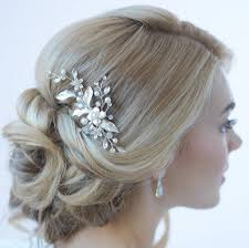 wedding hair clip floral bridal hair clip bridal hair accessory pearl rhinestone