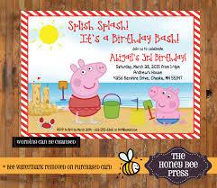 peppa pig birthday invitation peppa pig pool party splish