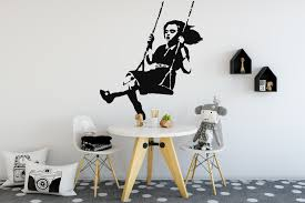 banksy girl swing wall sticker banksy girl stencil wall sticker banksy girl swing wall sticker