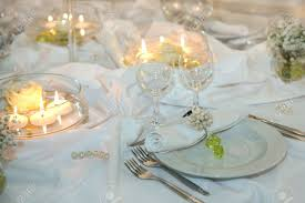 Elegant Table Settings Elegant Table Setting For A Wedding Or Dinner Event Stock Photo