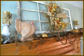 corner of plaid and paisley thanksgiving mantel
