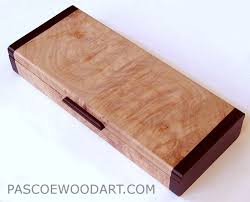 handmade small wood box made of maple burl with bois de ends