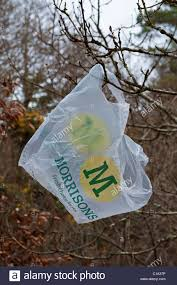 a morrisons plastic carrier bag stuck in the branches of tree