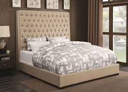 High Headboard Bed Tufted Fabric High Headboard Bed