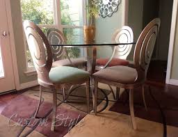 Covered Dining Room Chairs Reupholstering Dining Chair Cushions Custom Style