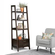 simpli home sawhorse dark chestnut brown storage ladder bookcase
